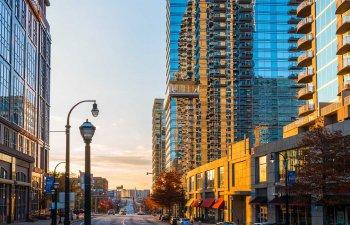 Atlanta Georgia USA. View of skyscrapers on the Ivan Allen Junior Boulevard NW.