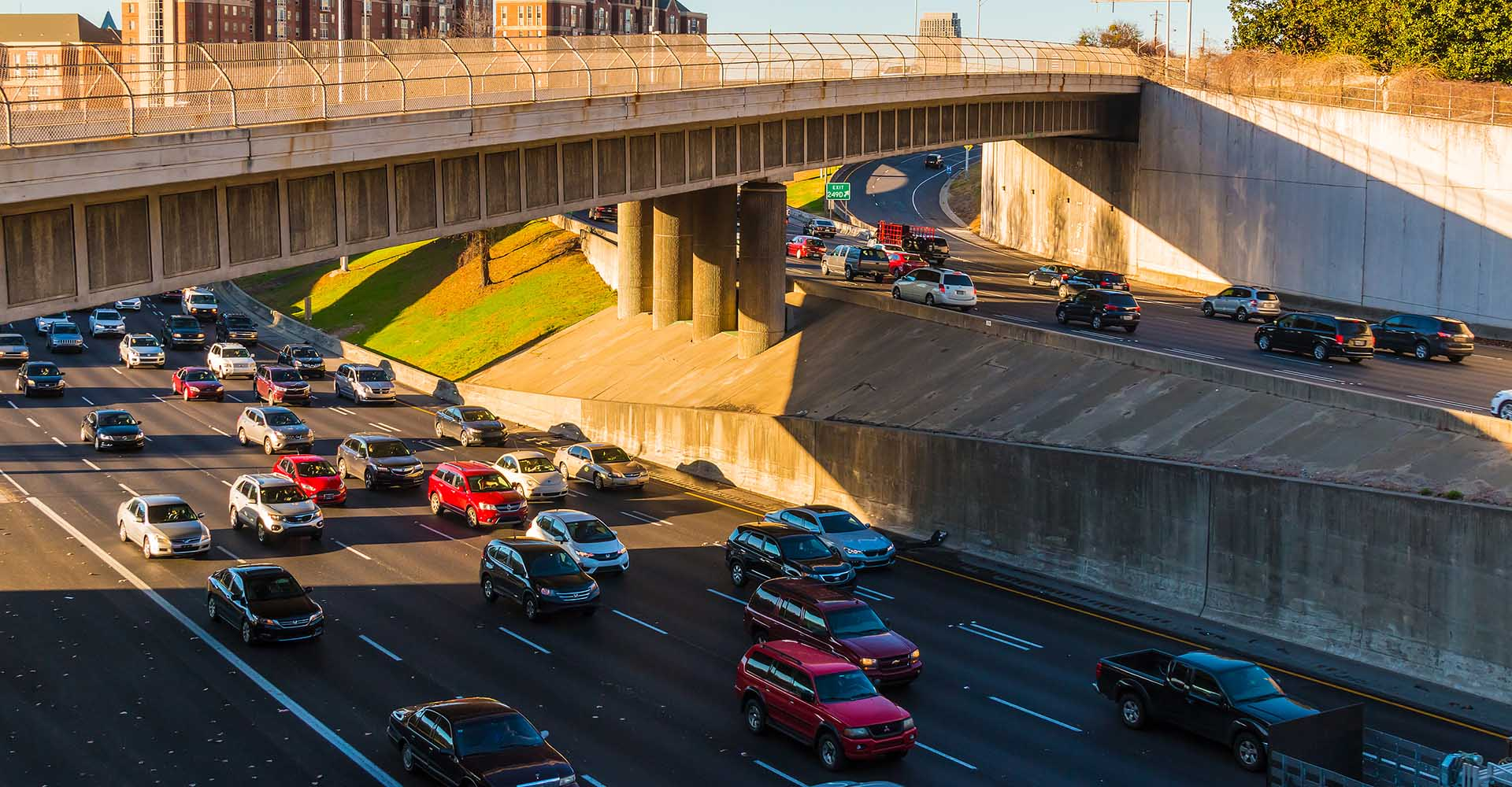 Atlanta Georgia USA. Aerial view of highway with heavy traffic in sunny day.